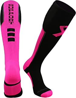 product image for MadSportsStuff Pink Ribbon Breast Cancer Awareness Support Athletic Over The Calf Socks
