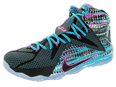 ac6e926075b5 Nike Mens Lebron XII Black Black Pink Pow Bl Lagoon Basketball Shoe (