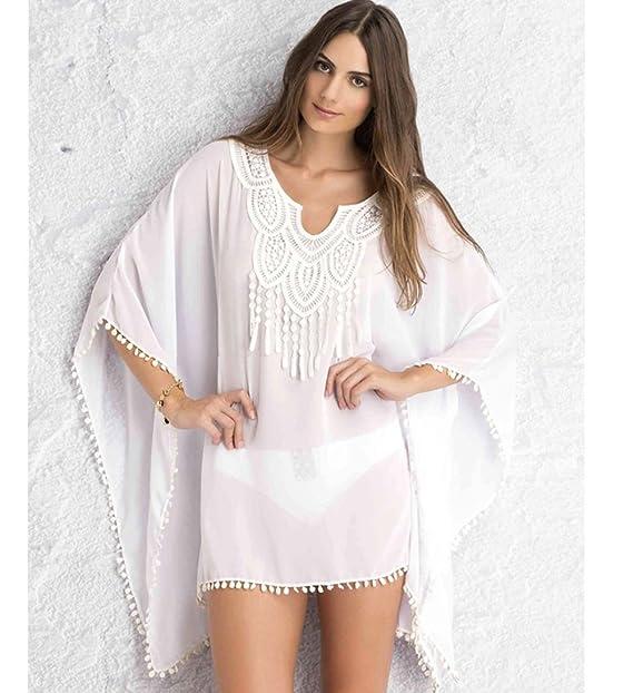 Bestowal Blusa de Playa para Mujer - Blusa de Gasa de Chifón de Mujer Blusón de