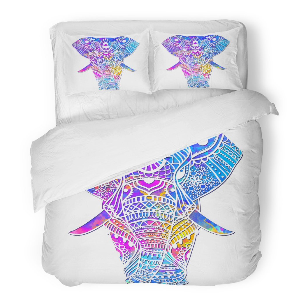 SanChic Duvet Cover Set Indian Watercolor Elephant Animals Design Bright on Cups Canvas Another Object Thai Decorative Bedding Set Pillow Sham Twin Size