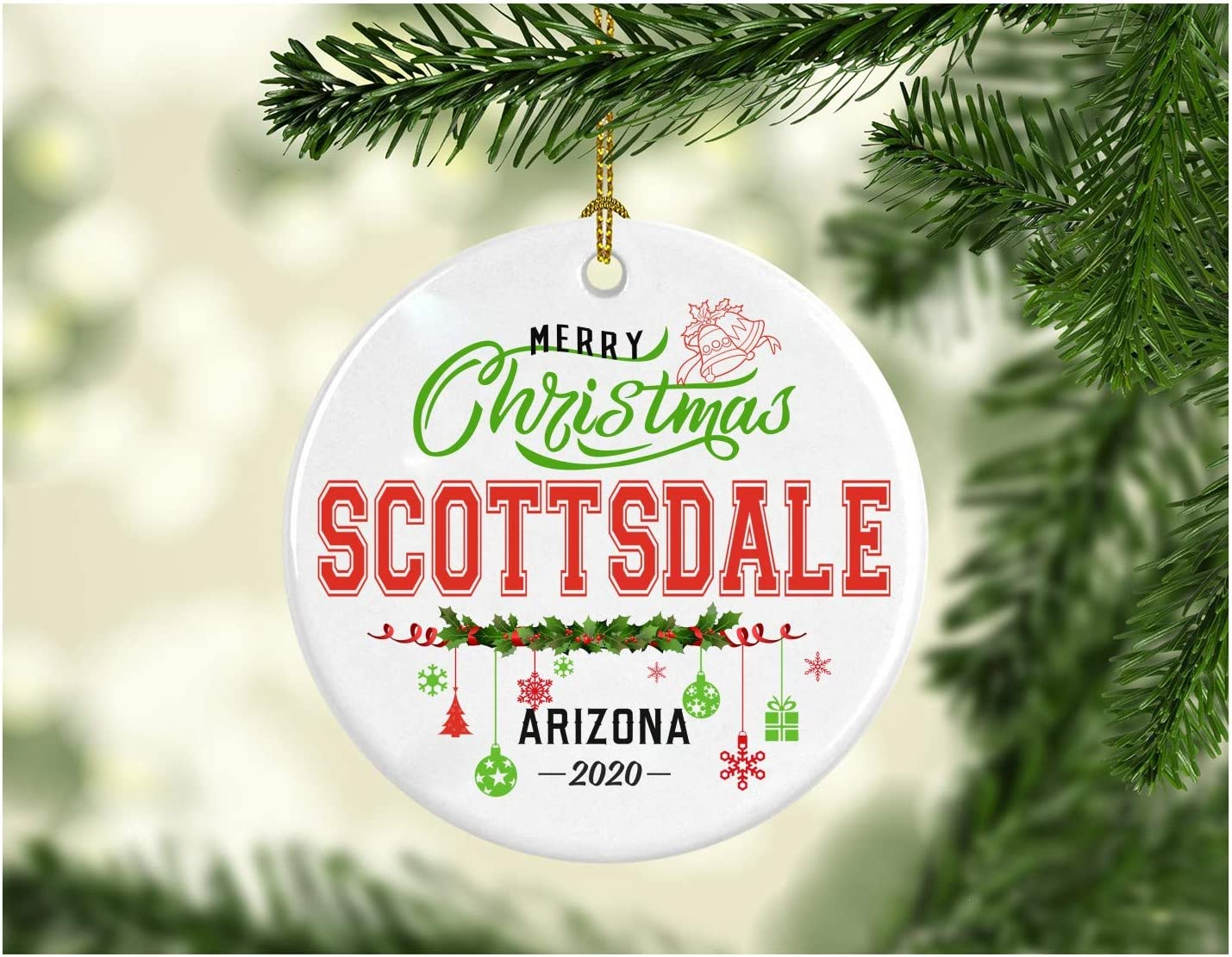Christmas Decorations Tree Ornament - Gifts Hometown State - Merry Christmas Scottsdale Arizona 2020 - Gift for Family Rustic 1St Xmas Tree in Our New Home 3 Inches White