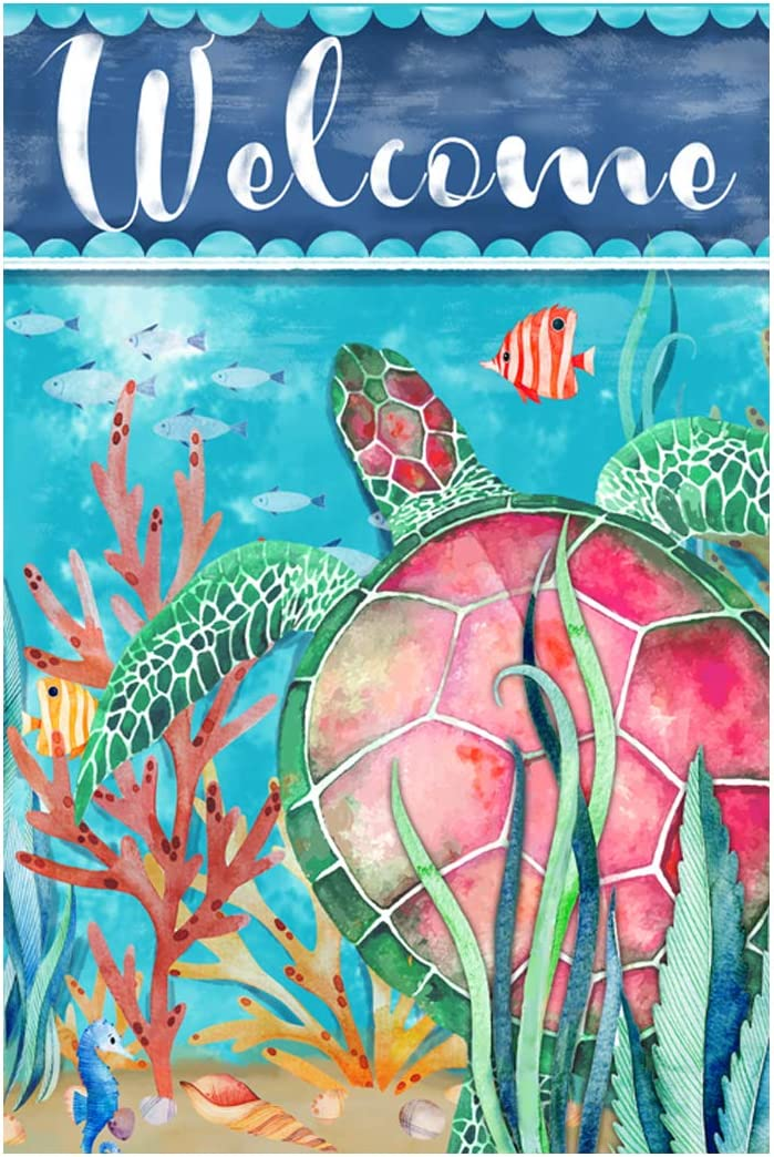 Morigins Welcome Sea Turtle Garden Flag Double Sided Coastal Decorations Tropical Ocean Summer Yard Flag 12.5x18 inch