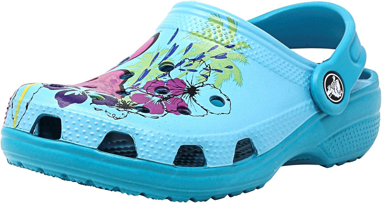 Crocs Kids' Classic Graphic K Clog,Turquoise,6 M US Toddler