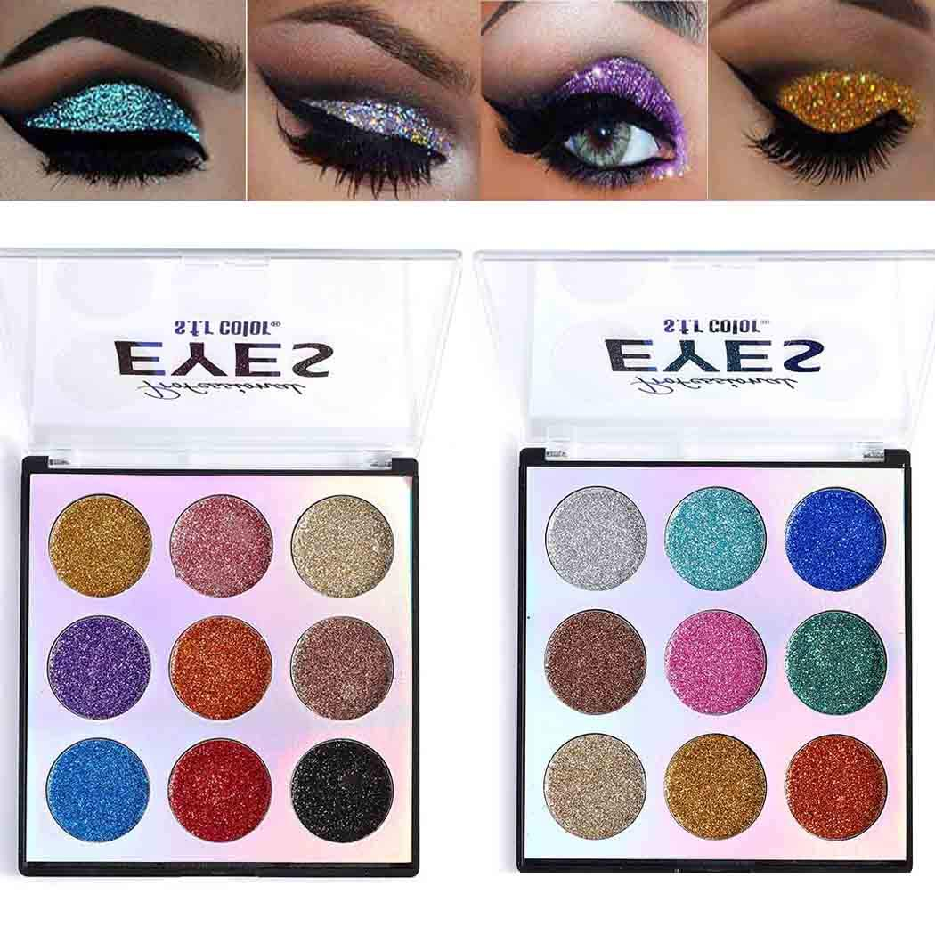 Eyret Glitter High Impact Eyeshadow Palette 9 Colors Easy to Blend & Long Lasting Eye Shadow Pallet Shiny Colors Eyeshadow Beauty Makeup Cosmetics for Women and Girls (Gold 1#)