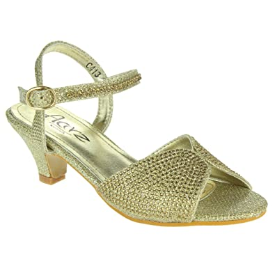 810fa7fabb48 AARZ LONDON Girls Kids Children Crystal Peep Toe Low Heel Diamante Ankle  Strap Evening Wedding Party Sandal Shoes Size  Amazon.co.uk  Shoes   Bags