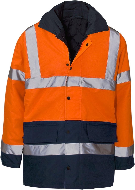 Hi Viz Vis Visibility Safety Hooded Bomber Jacket Coat Outwear Tops