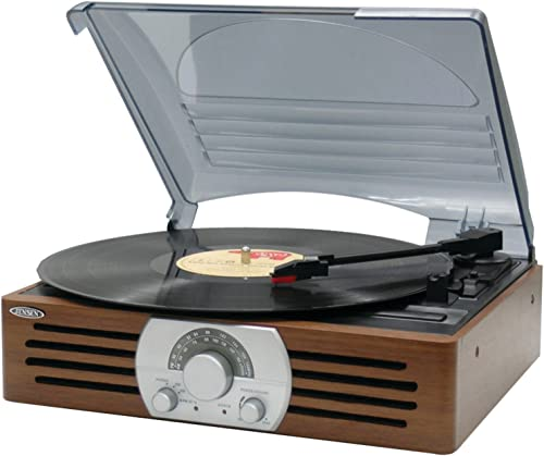 Jensen Premium Belt Driven 3-Speed AM FM Radio Stereo Turntable with Built in Wooden Cabinet Speakers