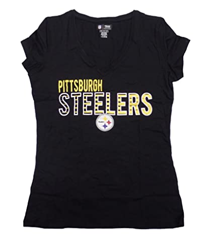 Amazon.com   Pittsburgh Steelers Women s Black Sweep V-Neck T-Shirt ... 35a0581df
