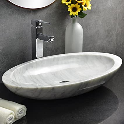 Stone Vessel Sink Oval White Marble Sink, Hand Carved Natural Stone  Bathroom Sink For Vanity