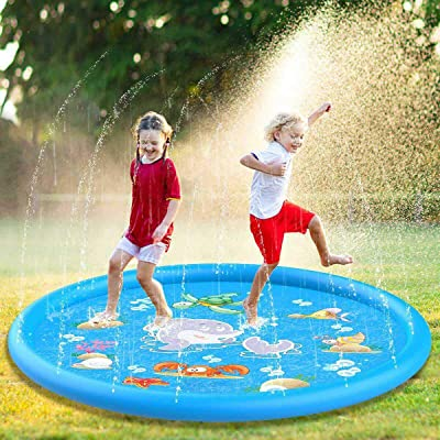 "INNER Childrens Sprinkler Splash Play Mat 68"" Spray Water Cushion Summer Kids Play Water Mat Lawn Games Pad Sprinkler Outdoor Toys (3-6 Years): Toys & Games"