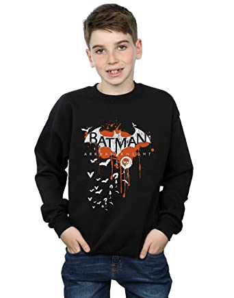 ee65d04f DC Comics Boys Batman Arkham Knight Halloween Logo Art Sweatshirt 5-6 Years  Black