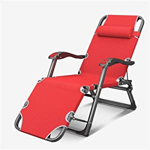 Lightweight Garden Loungers And Recliners Sun Lounger Folding Adjustable Red Chair Outdoor Furniture Bed With Pillow For Beach Pool Outdoor Patio Garden Camping Feet Steel ( Size : With cushion )