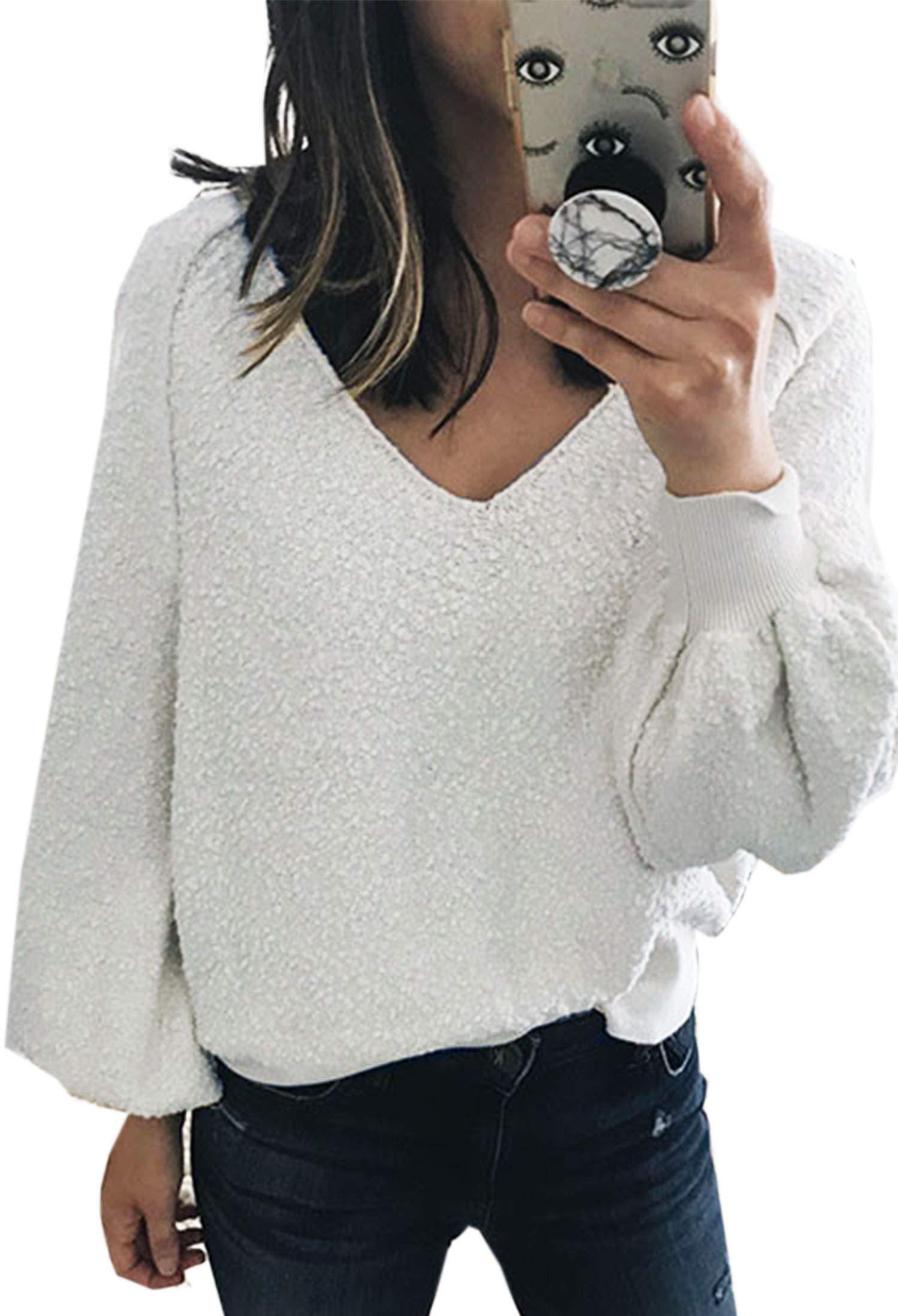 Angashion Women Sweatshirts - Long Sleeve V Neck Fleece Fuzzy Loose Pullover Sweater Tops White M