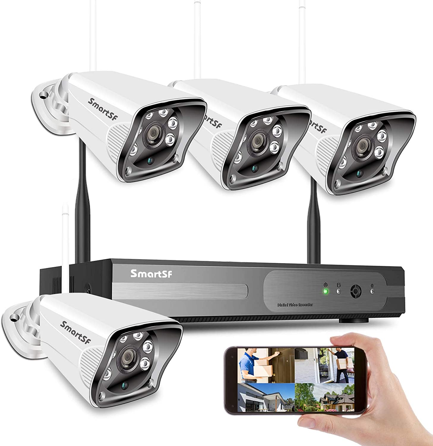 SmartSF 8CH 720P Wireless Security Cameras System,H.265 1080P NVR 4Pcs WiFi IP Security Surveillance Cameras Home Outdoor with Night Vision,Waterproof,Motion Alert,Remote Access,No Hard Disk