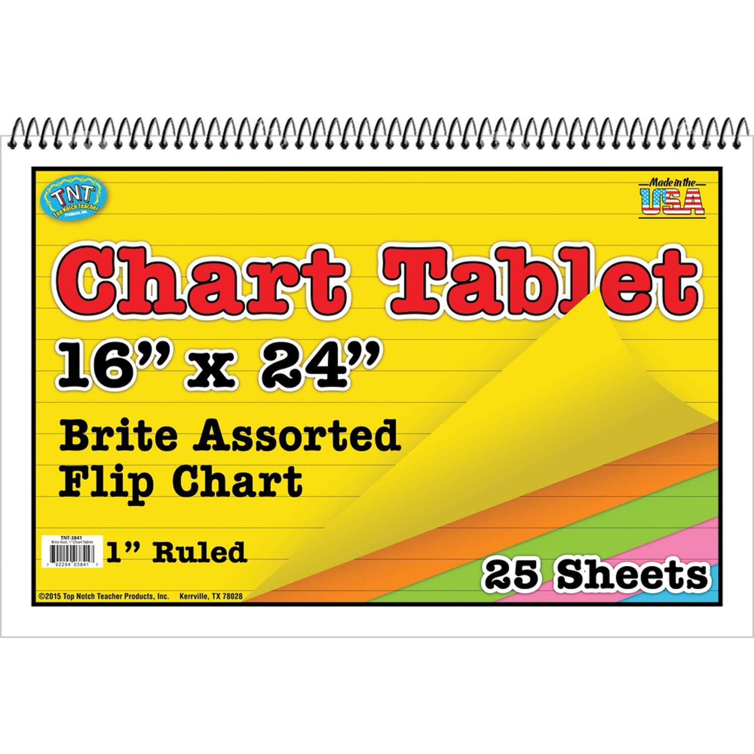Top Notch Teacher Products TOP3841BN Brite Chart Tablet, 16'' x 24'', 1'' Ruled, Brite Colors, 25 Sheets, Pack of 3, Brite Assorted by Top Notch Teacher Products