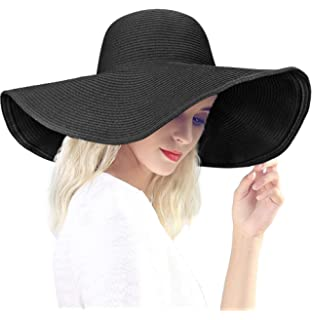 4e3493598dbec Dafunna Black Straw Hat Floppy Beach Hat Striped Sun Hat Foldable and  Packable