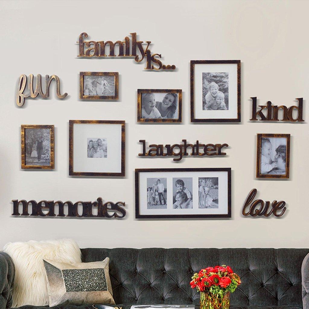 ZGP Home@Wall photo frame Retro 7/Set - Photo Frame Combination Pendant Photo Wall, Creative Living Room Restaurant Photo Wall