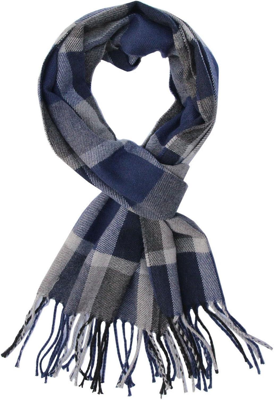 Saferin Men Winter Plaid Soft Elegant Cashmere Feel Wrap Scarf