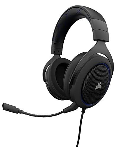 CORSAIR HS50 - Stereo Gaming Headset - Discord Certified Headphones - Works with PC, Mac, Xbox One, PS4, Nintendo Switch, iOS and Android - Blue