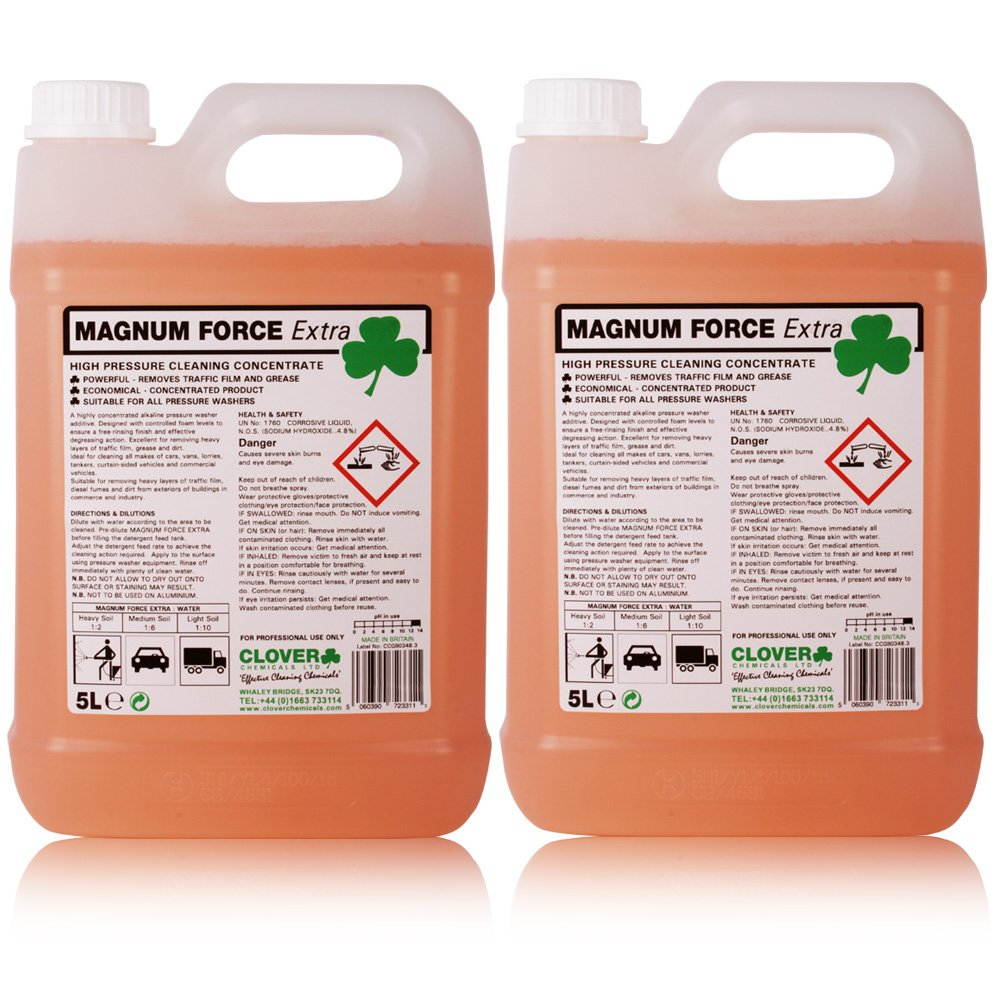 Magnum Force Extra. Heavy duty traffic film remover. Professional pressure washer additive 10 Litres - Comes With TCH Anti-Bacterial Pen! Clover