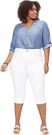 NYDJ Womens Plus Marilyn Crop Cuff Jean in Cool Embrace Denim Jeans