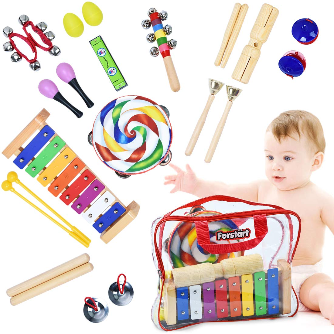 Toddler Musical Instruments - Percussion Instruments for Kids | 13 Types 25pcs Wooden Rhythm & Music Toys Set with Lollipop Tambourine Xylophone Early Learning Preschool Educational Toys Storage Bag by Forstart