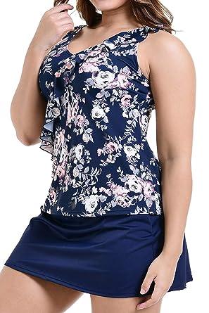 08d4126599b PERONA Plus Size Swimsuits Tummy Control Swimdress Two Piece Tankini  Bathing Suit Floral Printed Swimwear for Women