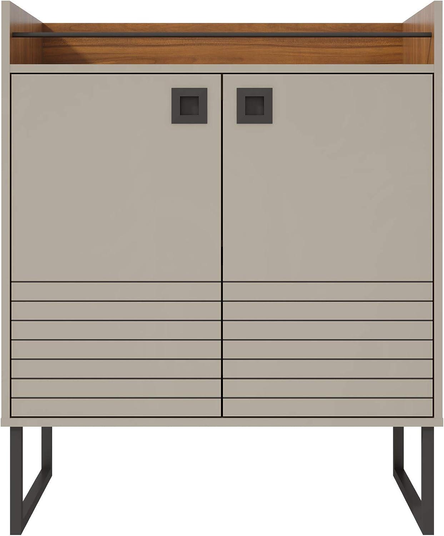 "Manhattan Comfort Loft Mid Century Modern Three Shelves Sideboard Buffet Stand, 31.49"", Off-White/Wood"