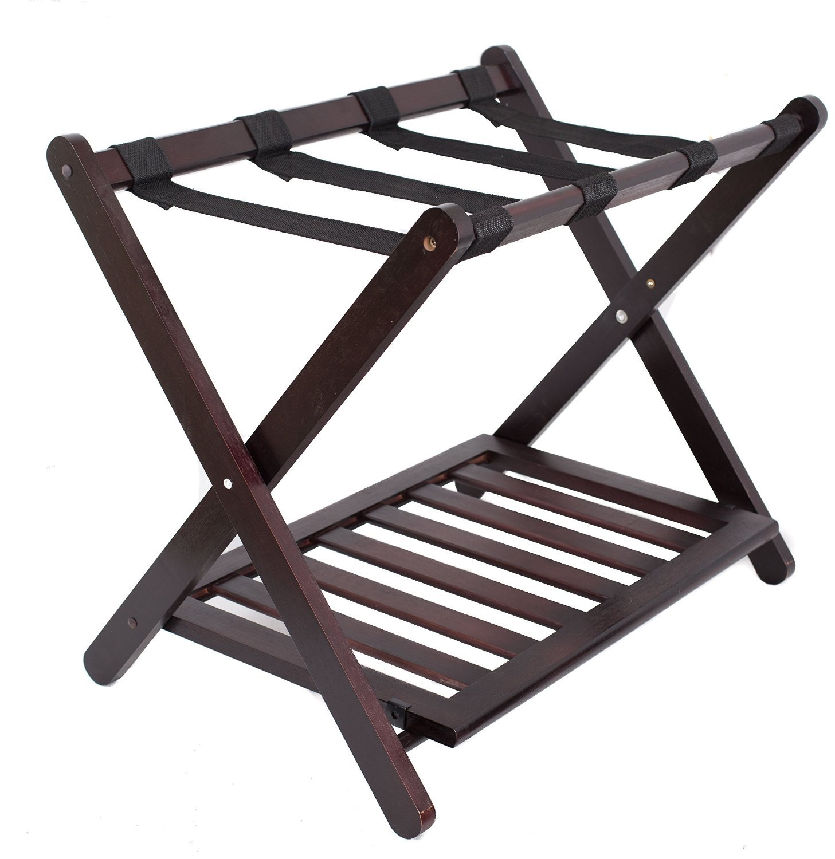 Birdrock Home Bamboo Luggage Rack   26.6'' W x 21.25 '' H x 18'' L. Weight
