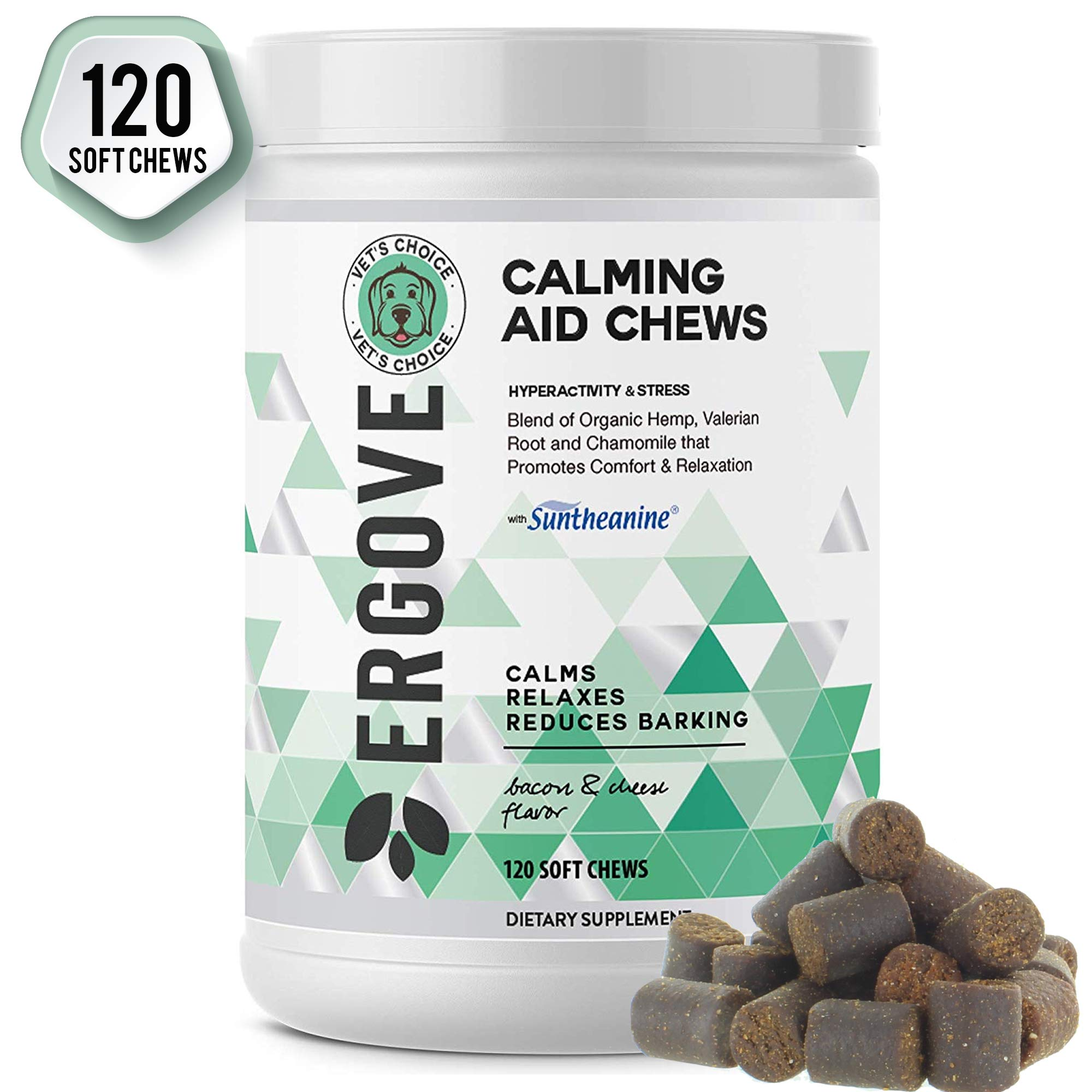 ERGOVE New Developed Formula Calming Aid Chews for Dogs - Anti-Anxiety & Stress Relief with Suntheanine - Vet Developed Breakthrough Formula Promotes Comfort & Relaxation - Made in USA - 120 Chews by ERGOVE