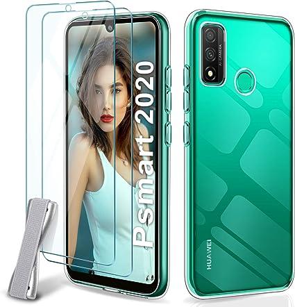 Desconocido Younme Funda para Huawei P Smart 2020, Carcasa Transparente Silicona Suave TPU Gel + 2 pcs Protector Pantalla in Cristal Templado [con Smartphone Agarre Elástic] para Huawei P Smart 2020: Amazon.es: Electrónica