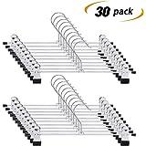 IEOKE Pant Hangers, Skirt Hangers Clips Metal Trouser Clip Hangers Heavy Duty Ultra Thin Space Saving (30pack)