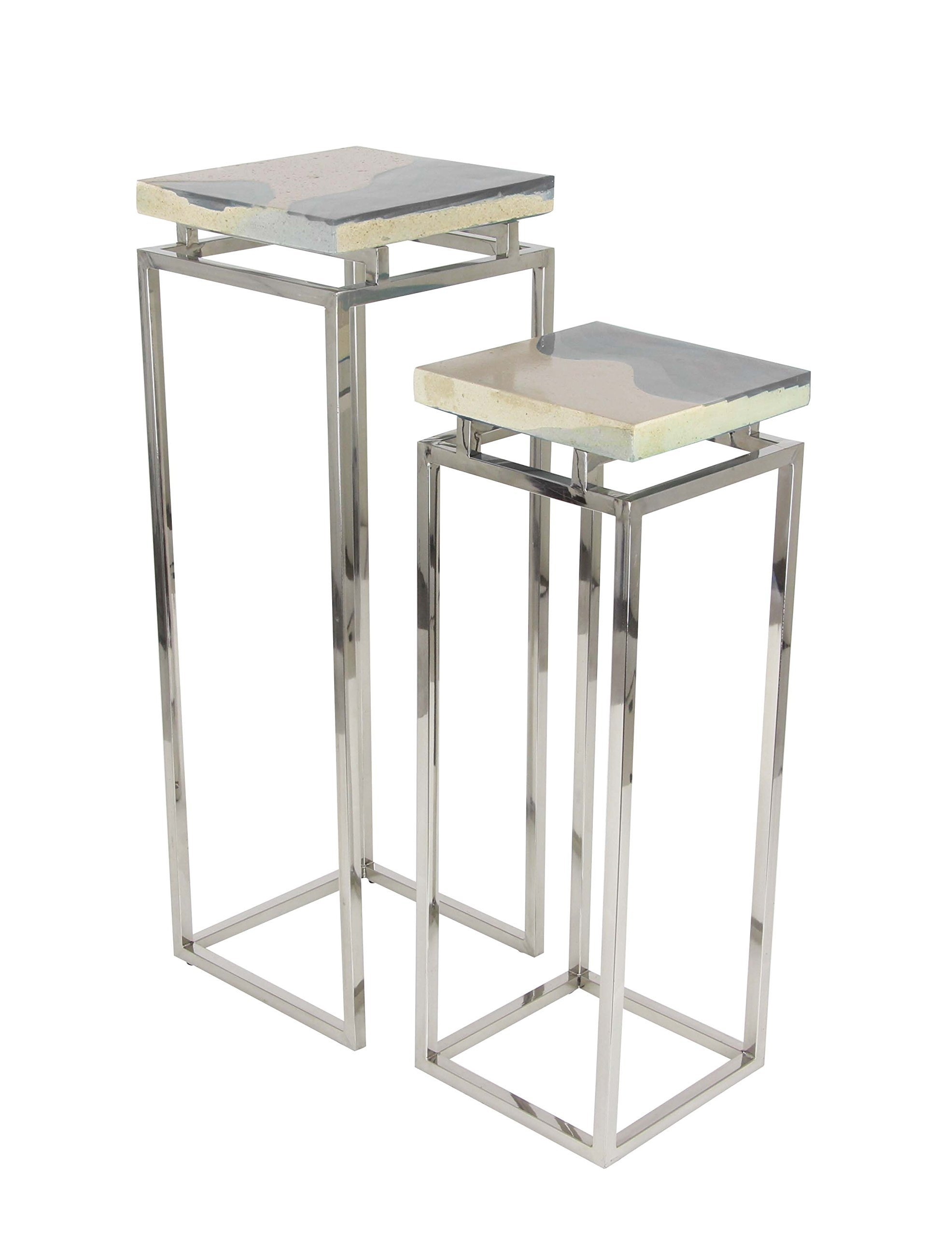 Deco 79 Stainless Steel and Stone Pedestal, Brown/Silver by Deco 79
