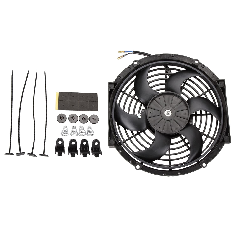 Dromedary Universal 12V Slim Fan Push Pull Electric Radiator Cooling Fan Mount Kit 10' inch Dromedary Autoparts