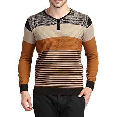 a6ee553d2d Mens Striped Wool Knitted Sweater Long Sleeve V Neck Pullover Jumper Coat  Tops(Yellow