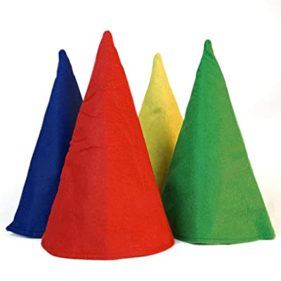 Gnome Cone Hats - 4 Pack- Red - Yellow - Blue - Green - One Size - Costume Accessory: Clothing