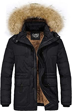 JYG Mens Winter Thicken Coat Warm Parka Jacket with Removable Hood