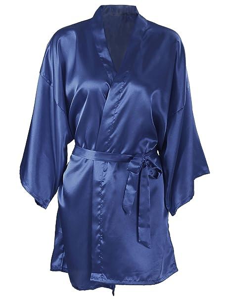 Silk Robe Women s Short Satin Sleepwear Robe Bridesmaid Bathrobe ... 25ea26179