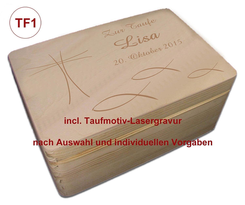 TF4 Auswahl-Lasergravur Holz-Geschenkbox Gr 1 Kiefer incl MidaCreativ zur Taufe