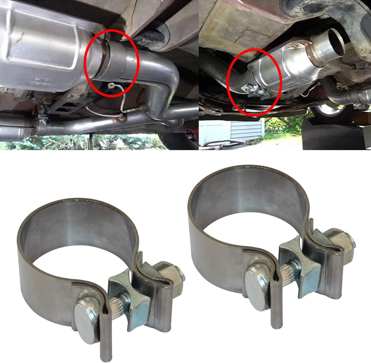 2PCS Exhaust Clamps 2 Inch Butt Joint Exhaust Pipe Muffler Clamp Band Stainless Steel Exhaust System Connection for Cars