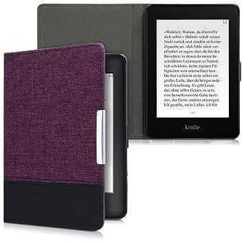 kwmobile Funda para Amazon Kindle Paperwhite - Carcasa de e-Reader de Cuero sintético y Tela - Case Violeta/Negro (para Modelos hasta el 2017)