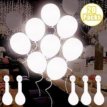 Globos de luz LED blancos, Globos LED Luz para Fiesta Boda Fiesta Cumpleaños Navidad Reunión