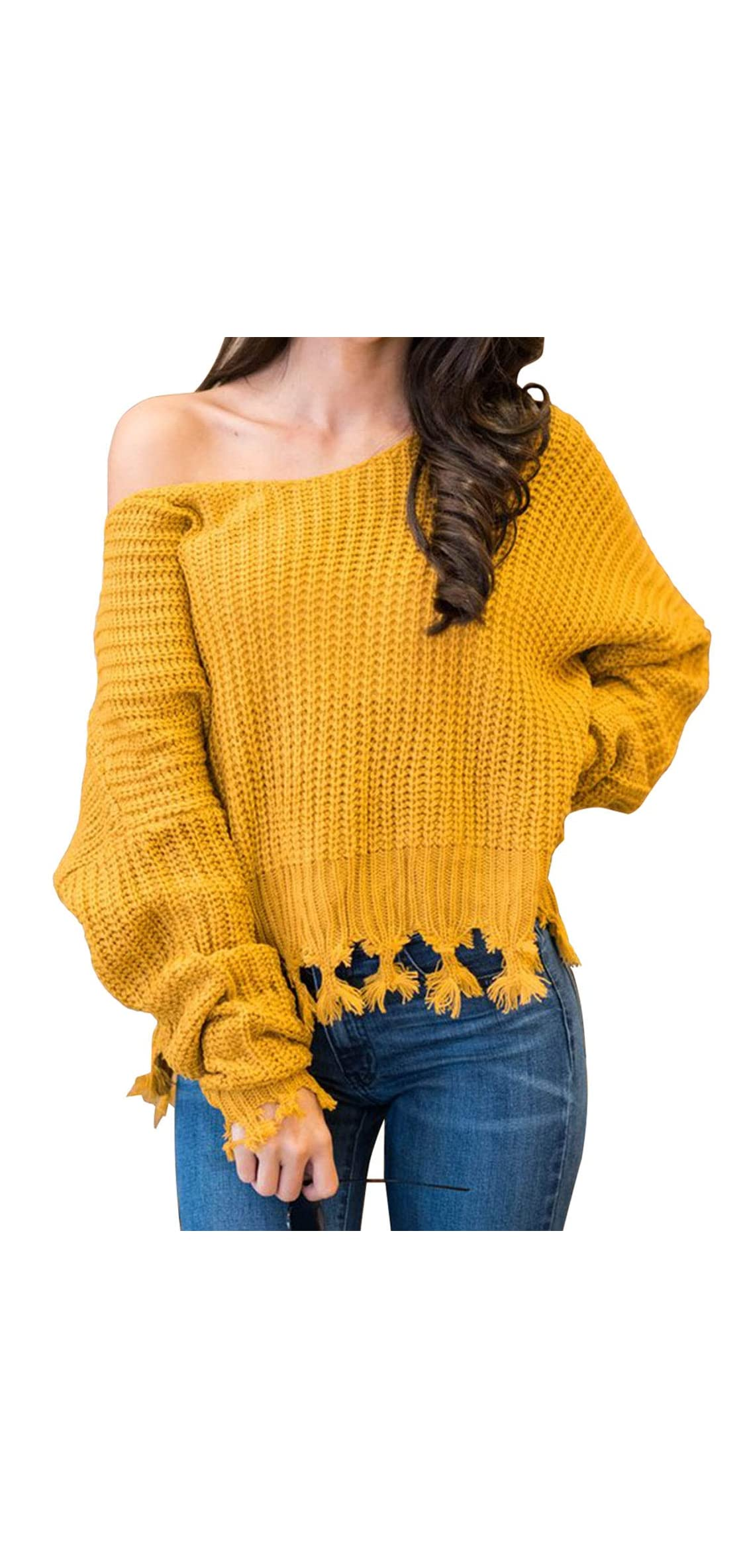 Women Pullover Sweaters Long Sleeve Crew Neck Knit Casual