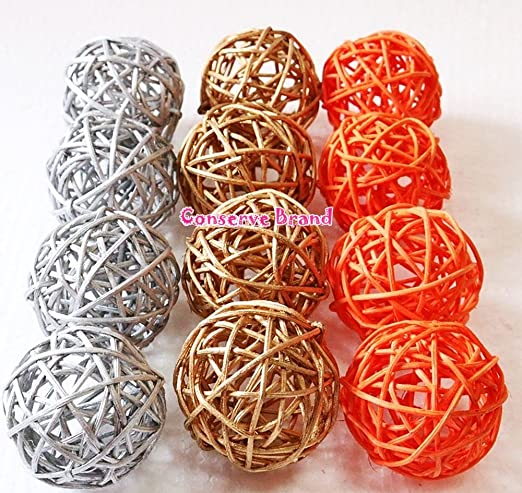 DIY Vase And Bowl Filler Ornament Christmas Gifts : Small Silver Gold Perfect For Decoration On Any Occasion 2-2.5 inch Red Rattan Ball 12 Pcs. Decorative spheres balls Wicker Balls