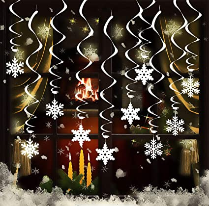 Hanging Christmas Decorations Ceiling.Gwhole Pack Of 26 Snowflake Hanging Swirls Dangling Ceiling Christmas Window Decoration For Winter Wonderland Frozen Holiday Party