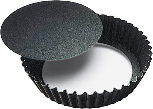 Paderno World Cuisine 9.5 Inch Fluted Non-Stick Tart Pan with Removable Bottom