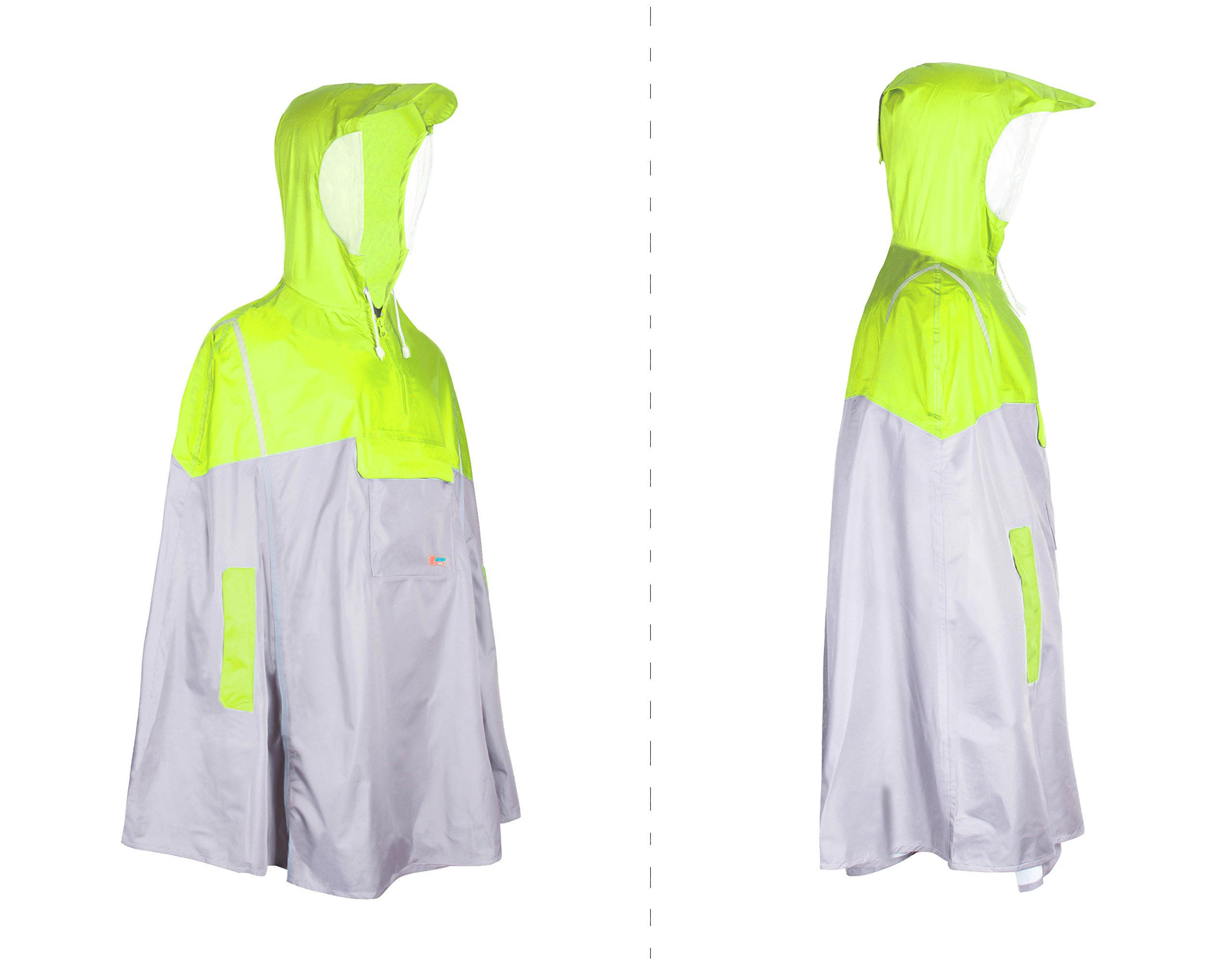 Balnna Rain Poncho with Hoods and Zipper Waterproof Raincoat for Outdoor Activities-Green by Balnna (Image #3)