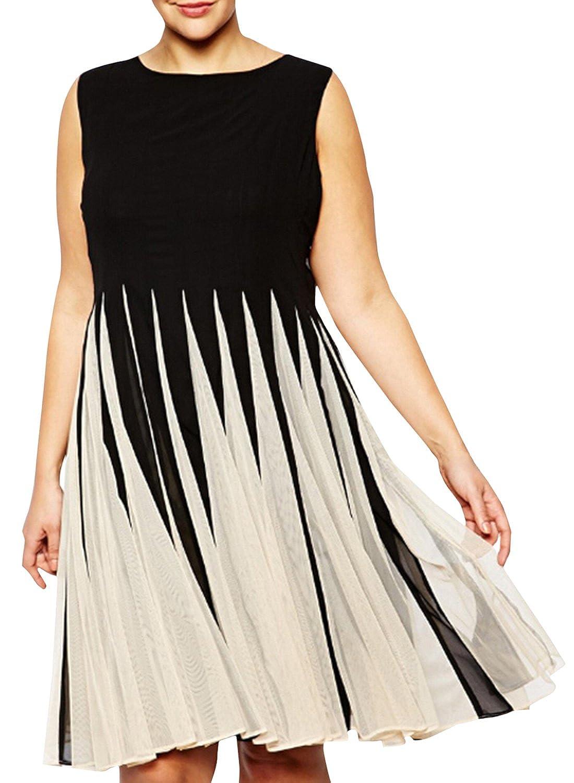 ACHICGIRL Women's Plus Size Sleeveless Color Block A-Line Pleated Dress