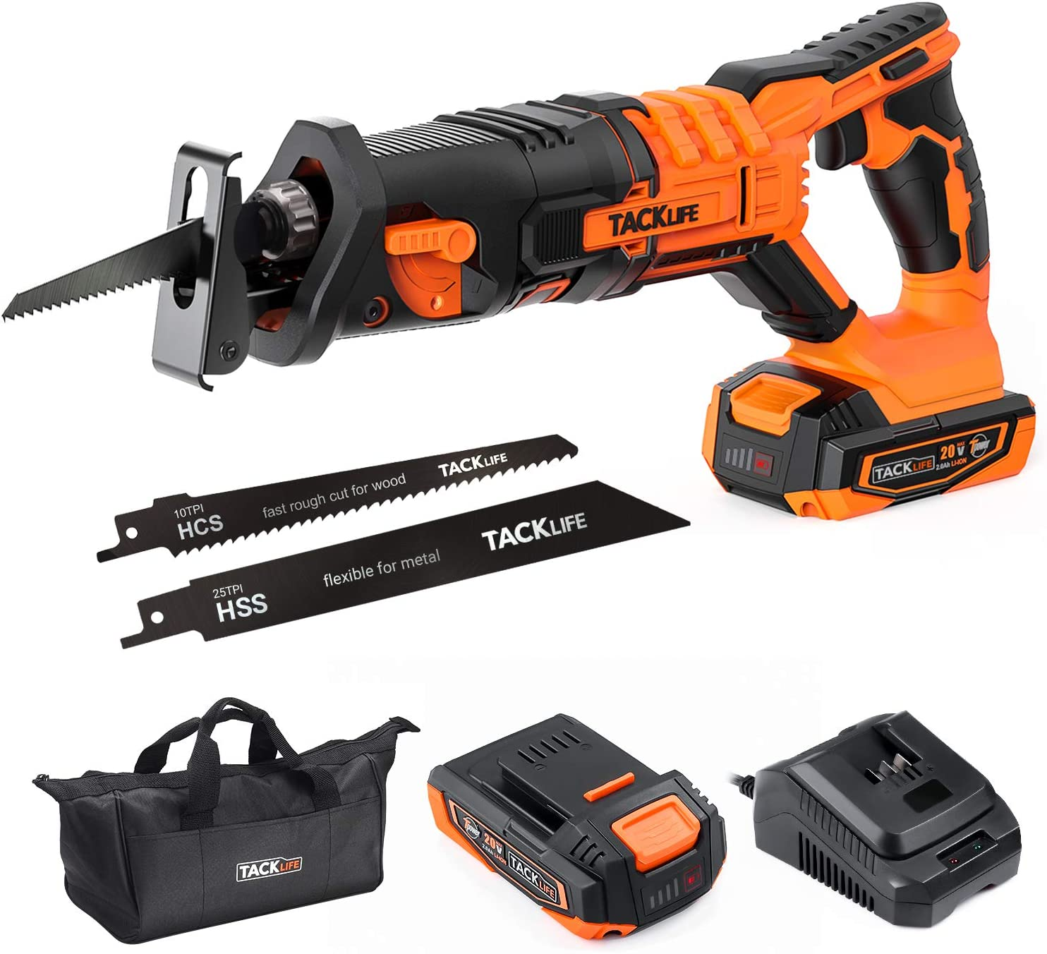 Tool-Free Blade Change 4//5 Stroke Length 2A Lithium Battery /& Charger Portable Bag/ - RES004 TACKLIFE 20V MAX Cordless Reciprocating Saw 0-3000SPM Variable Speed