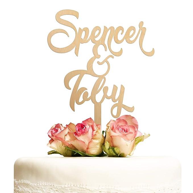 Cake Topper Hochzeit personalisiert Holz mit Namen Kuchentopper Vintage Hochzeitstorte Tortenaufsatz Tortendeko Deko Hochzeit